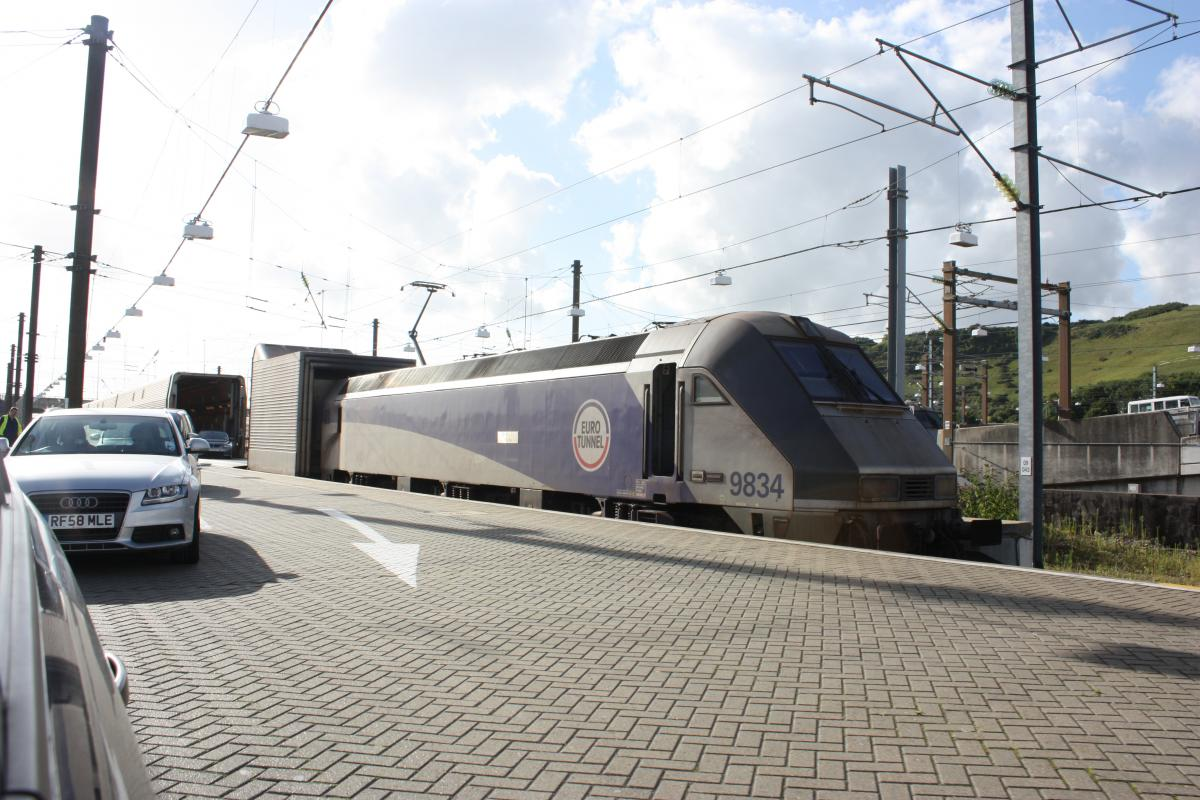 Eurotunnel Train Departing Terminal