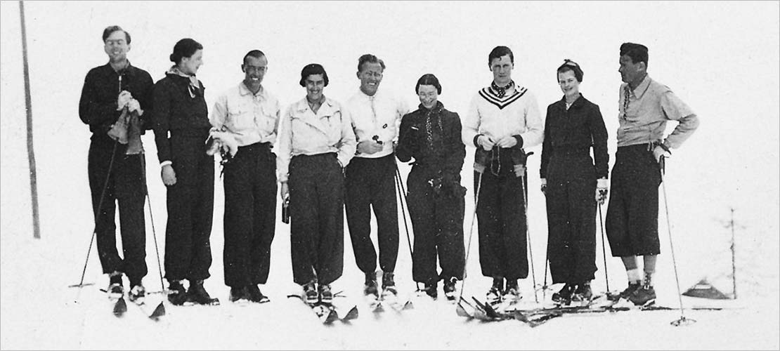 Erna Low and friends skiing in the 1940's